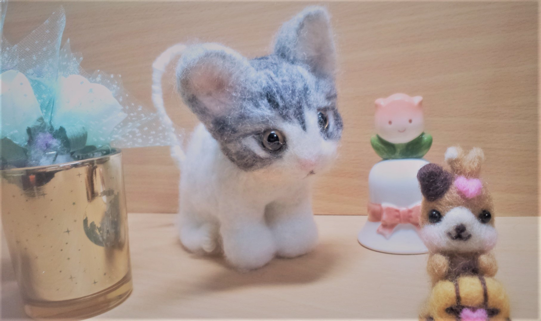 羊毛フェルト-ネコちゃん全体像