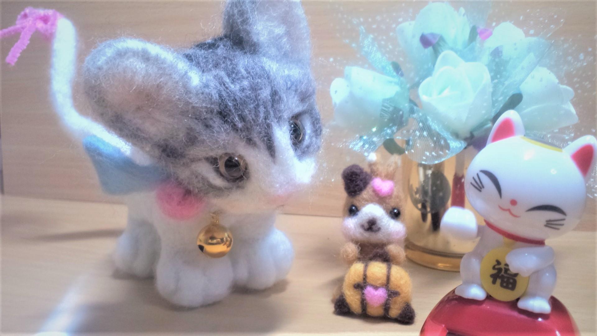 羊毛フェルト-ネコちゃん首輪全体