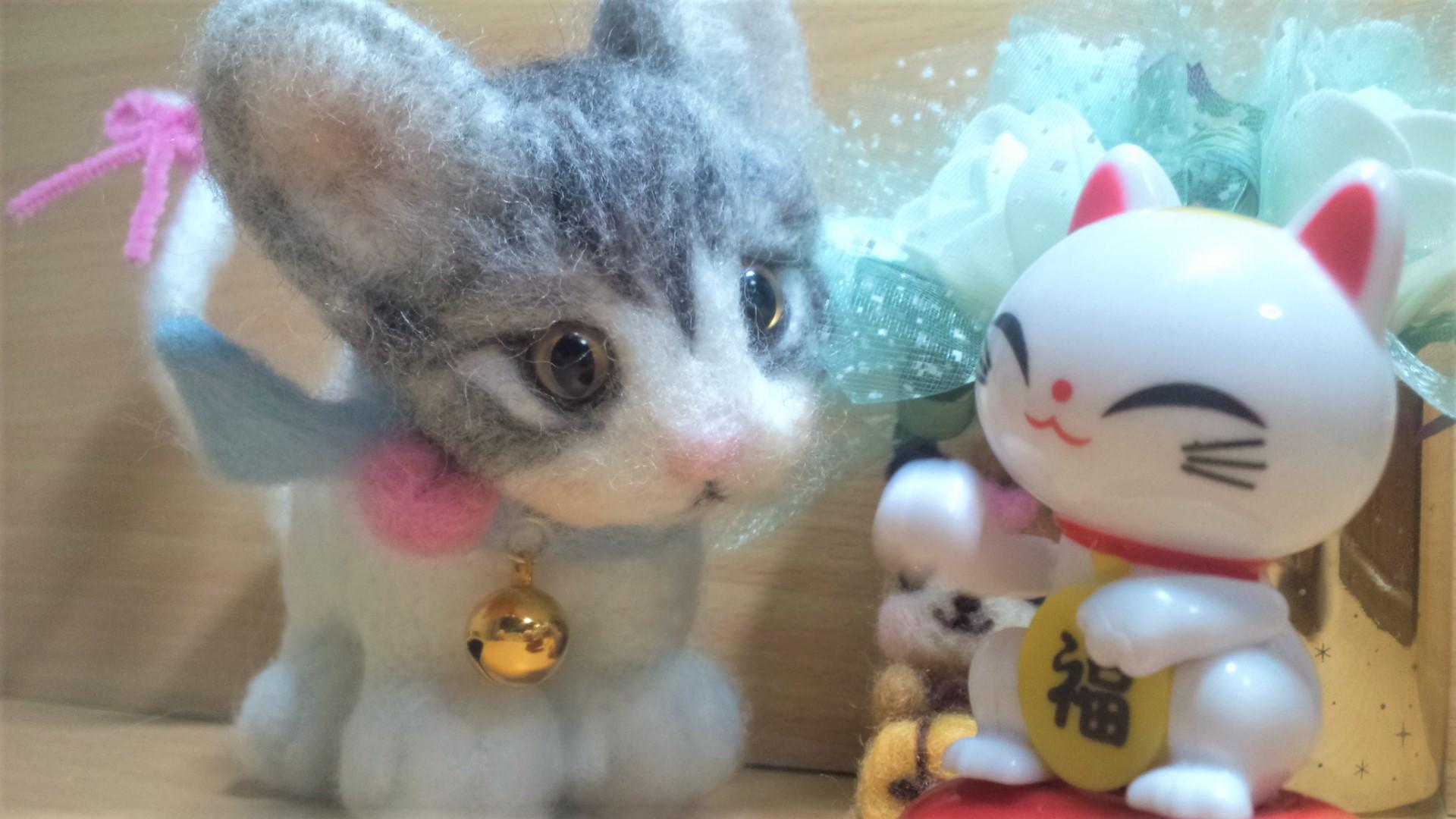 羊毛フェルト-ネコちゃん顔アップ