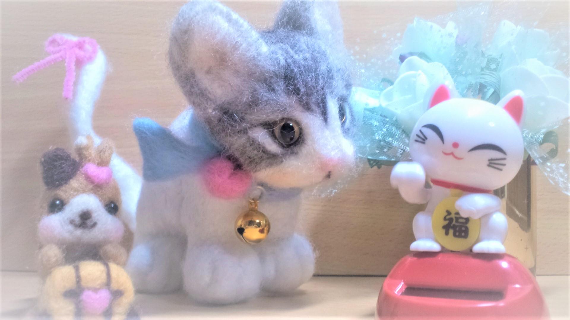 羊毛フェルト-猫ちゃん首輪ぼかし