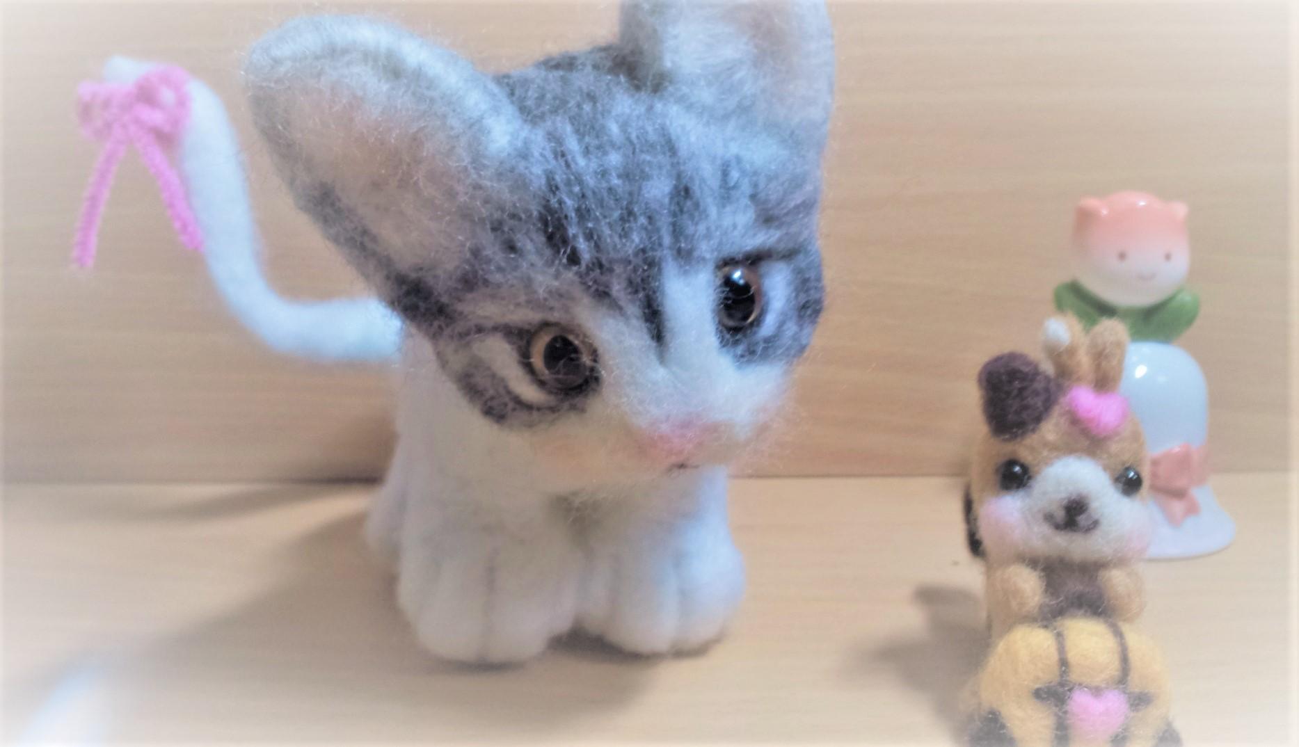 羊毛フェルト-猫ちゃんぼかし