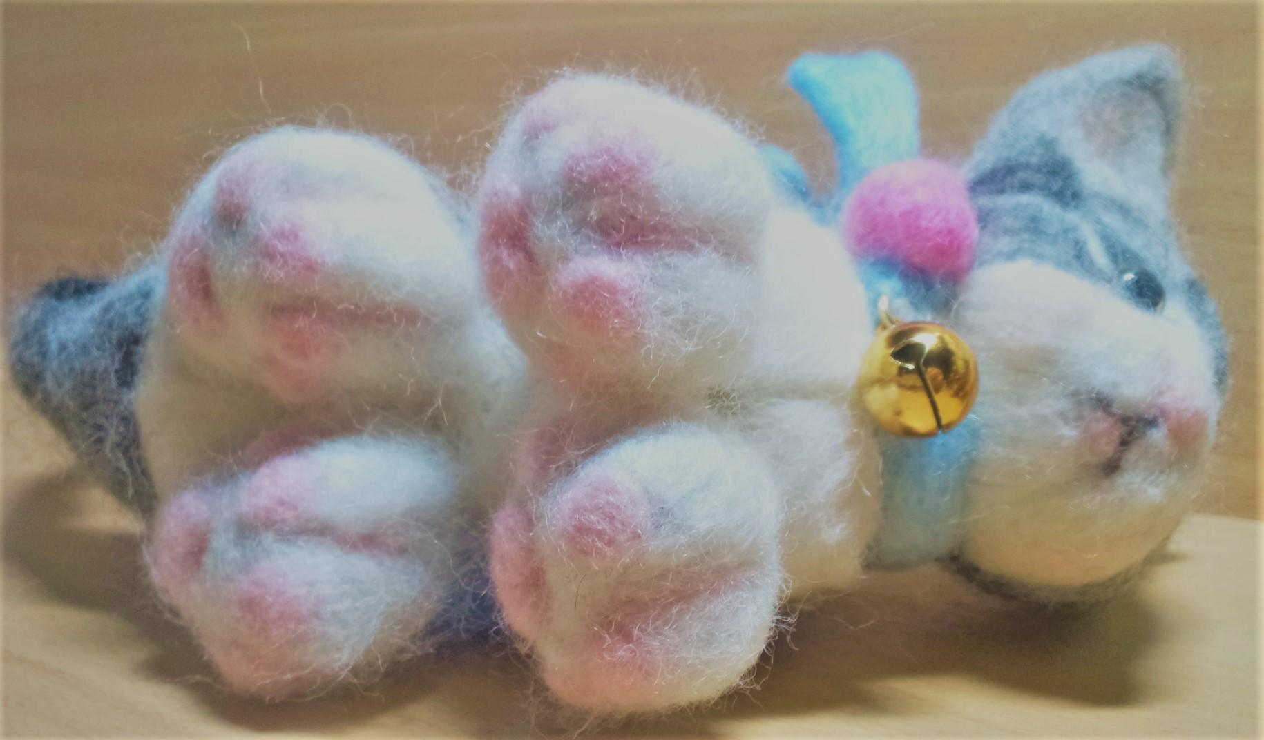 羊毛フェルト ネコちゃんのフワフワ肉球