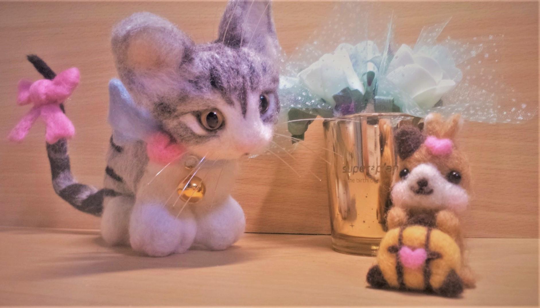 羊毛フェルトのネコちゃんをリベンジ達成!