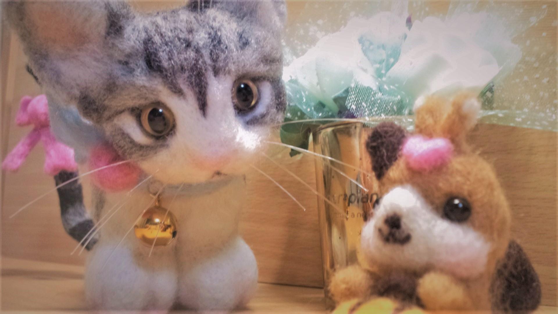 羊毛フェルト ネコちゃんの不思議な顔