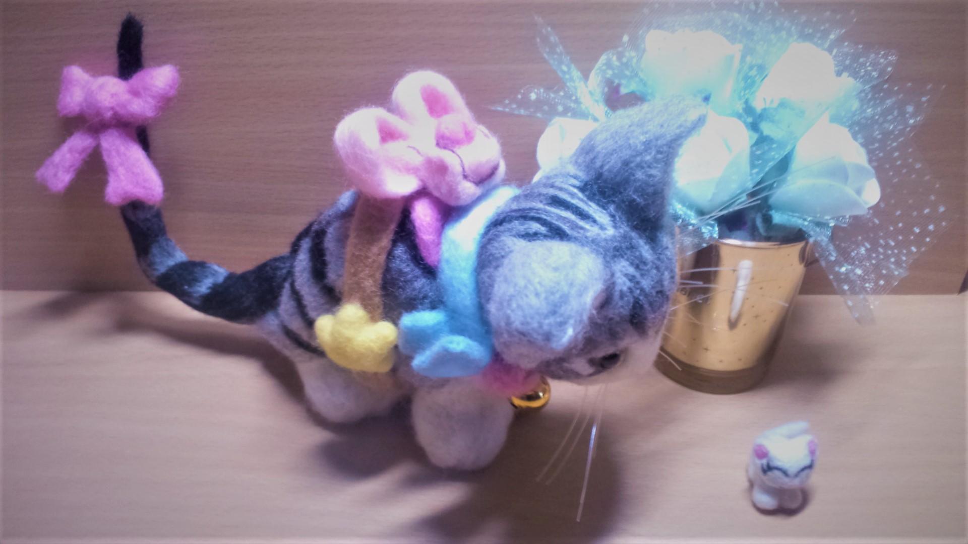 羊毛フェルト ネコちゃん用のリュックサック