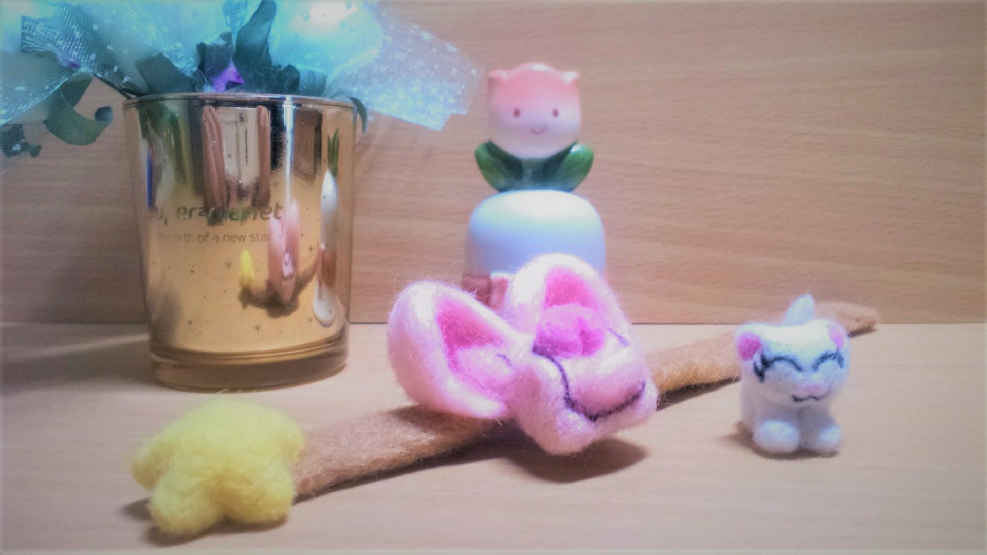 羊毛フェルト ネコちゃん用のリュックサックのアップ